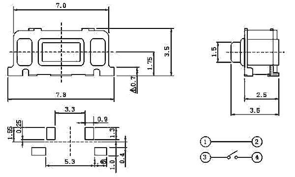 Миниатюрная тактовая кнопка SWT 7x3,5-R SMD (IT-1188)
