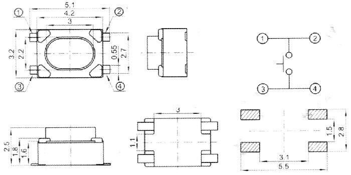 Кнопка тактовая миниатюрная TVAF-11