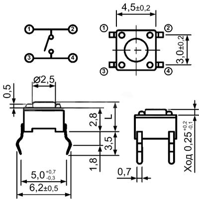 Миниатюрная тактовая кнопка SWT 4x4 - 3.5