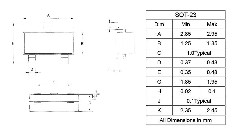Транзисторы SMD S8550 2TY SOT-23