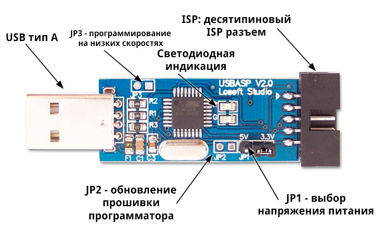 USBASP программатор - описание и распиновка